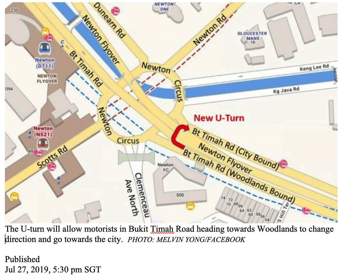 Drivers can avoid going into Newton Circus by using new U-turn-1of3